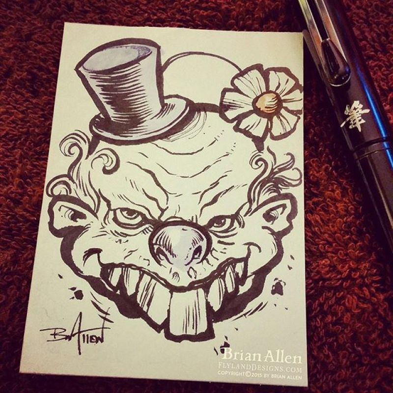 Day 22 of #Inktober has arrived, and it's time to draw more scary clowns.#inktober #clown #ink #sketch #brush #blackandwhite #art #instaartist #brianallen