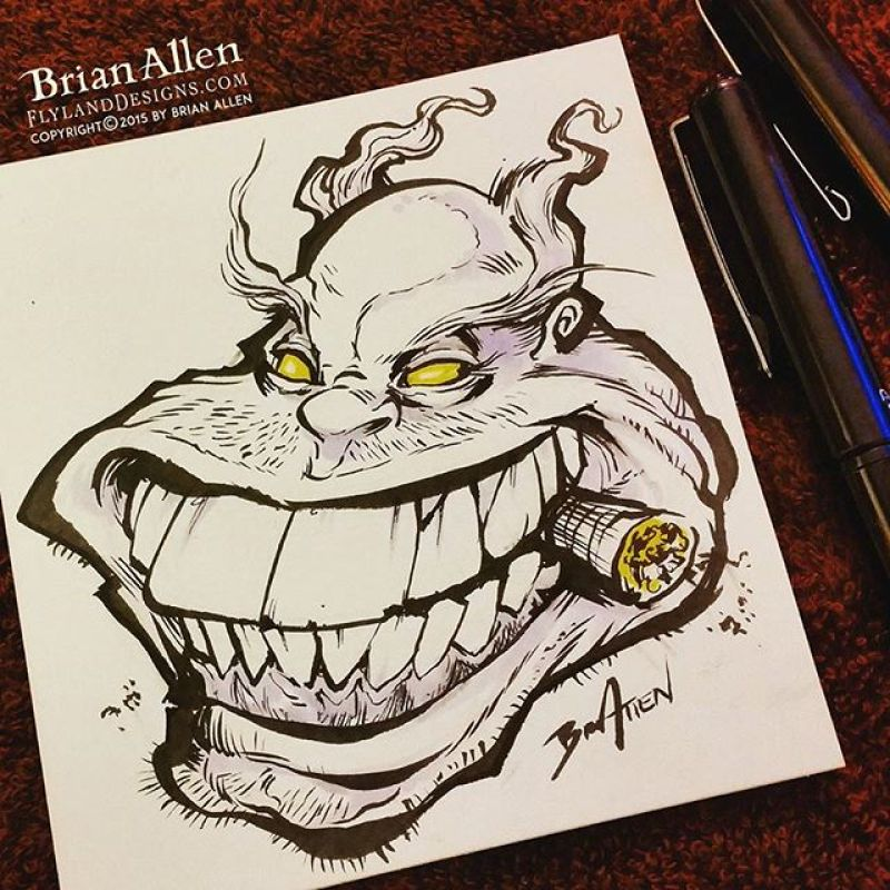 This drawing I did for #Inktober Day 15 shows another one of my early sources of inspiration - Todd McFarlane from Spawn.  This wasn't meant to look like the Violator character when I started drawing, but it turned out that way.  Pro Drawing Tip:  If your character isn't looking great, stick a cigar in his mouth.  Problem solved.#inktober #ink #sketch #clown #brush #blackandwhite #art #instaartist #brianallen