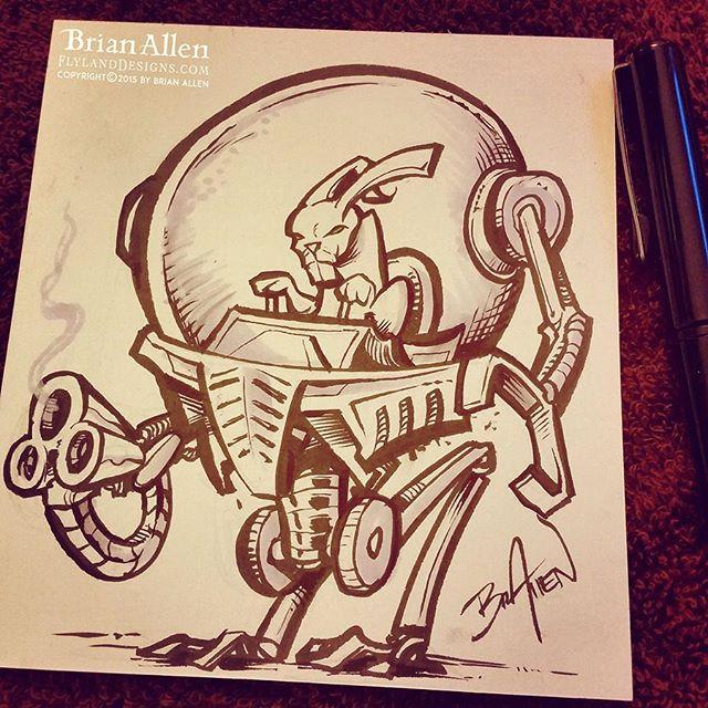 Bunny in a robot ink sketch