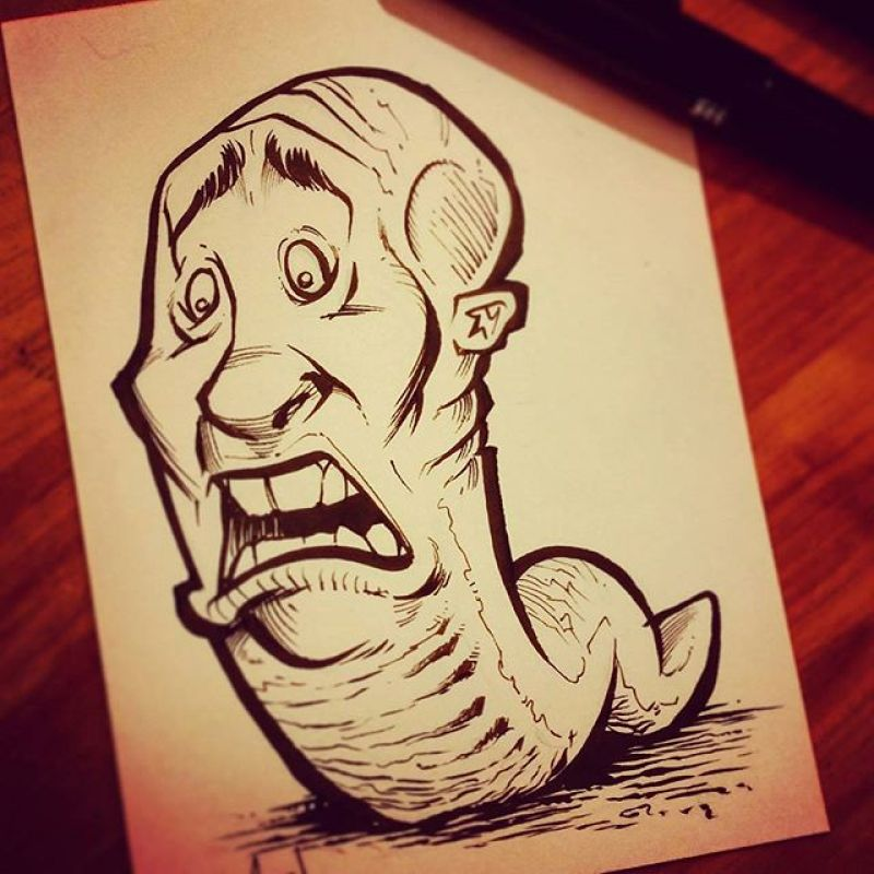 Day 2 of #InkTober!  So here's a pen and ink sketch of Man-Worm (or Worm-Man, still deciding).I wish I had a clever artistic reasoning to explain why this image exists, but I've got nothing.  Thanks for all the love on my first sketch - I'm really excited about this - I haven't been this motivated to create my own stuff in a while.#inktober #worm #ink #sketch #brush #blackandwhite #art #instaartist #brianallen