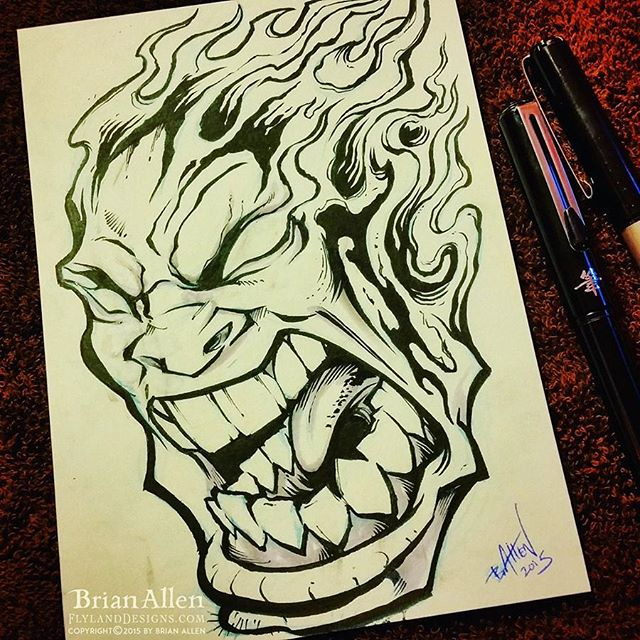 Angry flaming head