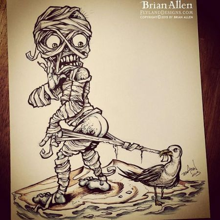 Mummy at the beach concept sketch