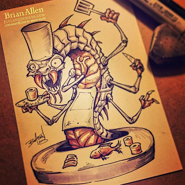 Chef bug character ink drawing