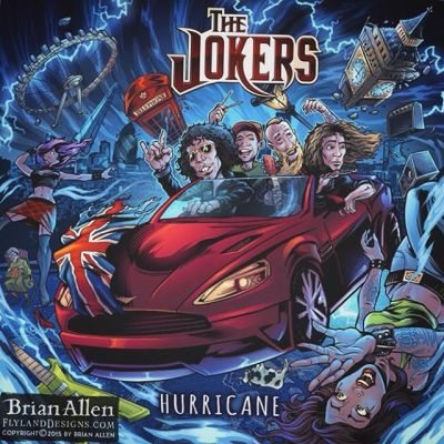 This is a fun album cover illustration I created for a hard rock band called the Jokers for their new album, Hurricane.  The idea was to have the band in a classic-looking car flying through the air to their next gig, and causing a hurricane behind them, destroying London below them. The band needed the album art in a really short amount of time, but we pulled it off in time, and they were quite happy with the result.Illustrated by Brian Allen, FlylandDesigns.com#mangastudio #albumcover #illustration #tshirt #art #instaart #instaartist #picoftheday #london #followme