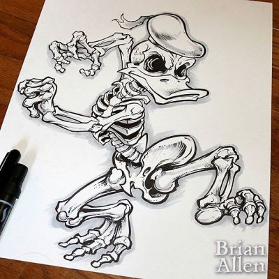 6th day of Inktober with skeleton donald! Interested in purchasing this original ink drawing?  please pm me#inktober #donald #skeleton #disney #ink #sketch #brush #blackandwhite #art #instaartist #brianallen New Artwork From Instagram