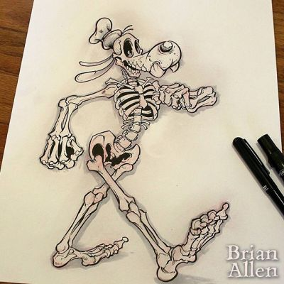 Inktober Day 4: Skeleton Goofy!  I've been tasked to make t-shirts for a big group of family and friends who are going to Disney World next month, so I thought I'd hit two birds with one brick (is that cheating?) and shoehorn it into Inktober.  Going to do two more characters as skeletons, and hopefully print them on black hoodies in glow in the dark ink.#inktober #goofy #pentel #skeleton #ink #sketch #brush #blackandwhite #art #instaartist #brianallen New Artwork From Instagram