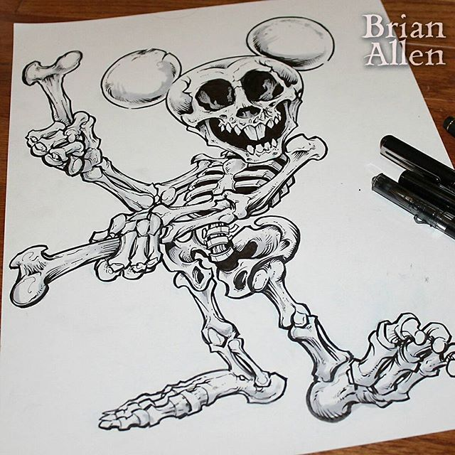 Inktober Mickey Skeleton Is The Rd Character In My Series - Skeletons favourite childhood cartoon characters