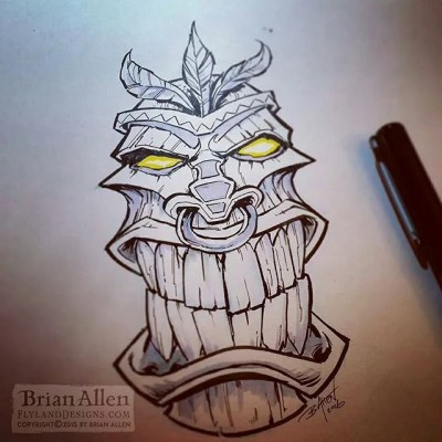 Angry tiki face for the 13th of Inktober - just a quick one, it's been an insane week.  I hope to do some more involved drawings next week.#tiki #inktober #ink #sketch #brush #blackandwhite #art #instaartist #brianallen New Artwork From Instagram