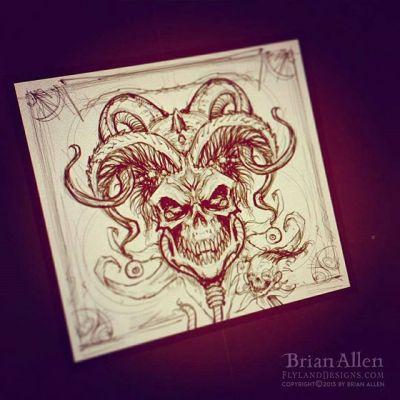 Rough sketch for an album cover design for Hang The Jester... more to come!#art #illustration #album #cover #skull #freelance #FlylandDesigns New Artwork From Instagram