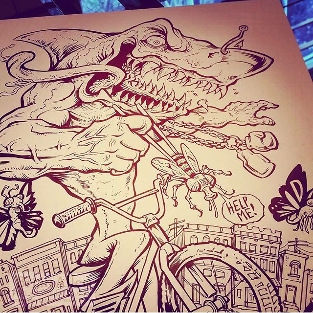 Drawing A Muscular Shark On A Bike With A Pentel Brushpen On