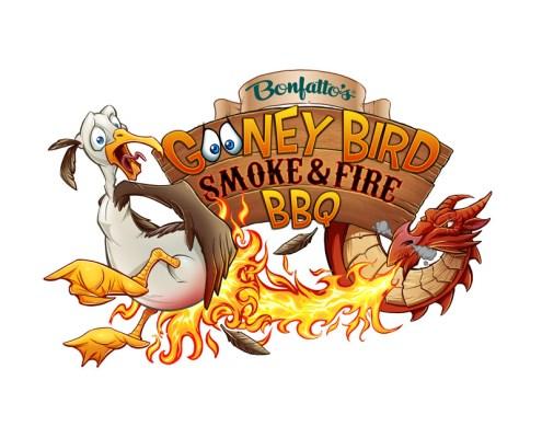 Logo design illustration of a dragon and a Gooney Bird