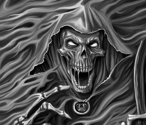 Digital painting of grim reaper emerging from smoke