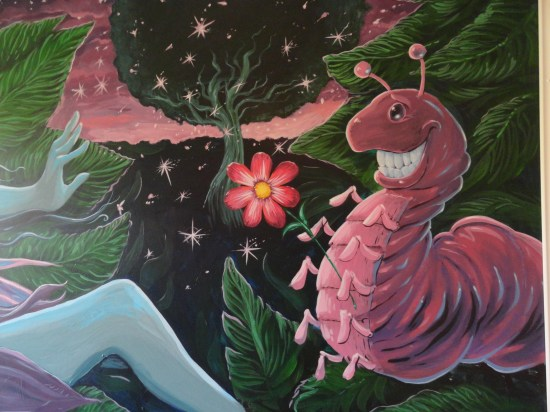 acrylic painted mural of a fairy for Isabella