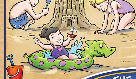 Coloring book cover featuring kids on a beach