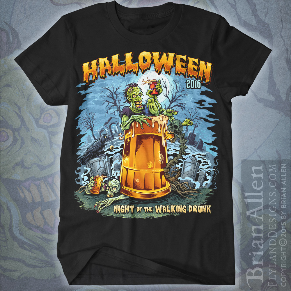 Zombie in graveyard drinking a beer sitting in giant beer mug for halloween t-shirt.