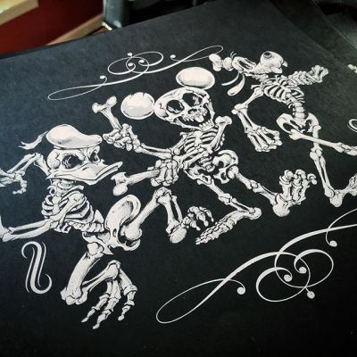 """Hey Guys! I am excited to present my first ever silk-screen print of my Disney Skeleton Parody artwork! Iconic Silkscreen did an excellent job - one color on thick textured black paper 12.5"""" square. I'm only printing 50 of these things - thanks in advance for checking them out - really hope to get these things out there so I can screen more artwork!⠀Get it here: http://www.flylanddesigns.com/shop/#silkscreenprint #silkscreenart #disneyart #halloweenart #skeleton #skullart"""