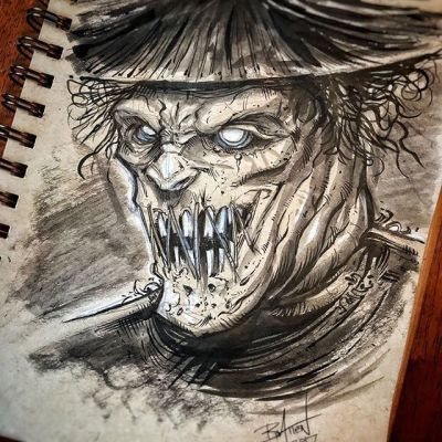 It's fun to get out the pen and ink on paper every once in a while and get away from the screen. Does anyone feel like working digitally all the time you lose a little bit of a connection to the art? #ink #sketch #scarecrow