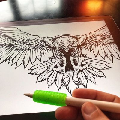 Really starting to enjoy inking on the iPad Pro in Clip Studio Paint - I got one of those cheap pencil grippers and put it on the Apple Pencil and it totally transforms it my opinion.  So much easier to hold and control.  Plus look how rad it looks. #ipadpro #applepencil #art #mangastudio #clipstudiopaint #illustration #tshirtdesign #freelance #hire #eagleart