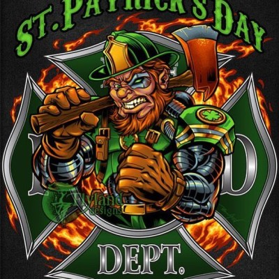 Cyborg Leprechaun fire-fighter I created for a St. Patrick's day t-shirt template I illustrated for fire departments and t-shirt shops to license to celebrate their Irish Pride! Available for licensng if anyone's interested.I try to design one of these each year, and I had a lot of fun with this one, trying to approach it differently by making the Leprechaun into a cyborg.  From the future?  Only time will tell.#leprechaun #tshirtart  #stpatricks #firefighterart #firefighter #art #mangastudio #clipstudiopaint #illustration #tshirtdesign #freelance #hire