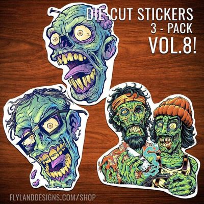 Happy to share that my latest set of vinyl stickers produced by Vinyl Disorder are now available in my shop.  Just $5 for this set of 3!  Volume 8 - the Zombie series!  Thanks to all that have picked up the previous sets.#art #vinylart #vinylcollector #stickerslap #stickerart #diecutsticker #zombieart #freelance #hire