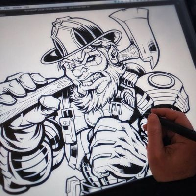Inking this cool cyborg leperchaun fire-fighter that I created for St. Patrick's day t-shrt template for fire departments and t-shirt shops. Available for licensng if anyone's interested.#fire-fighters # leperchaun # StPatricks day #art #mangastudio #clipstudiopaint #illustration #tshirtdesign #freelance #hire