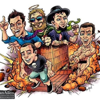 A #parody #illustration I drew of the profound and inspiring crew from #Jackass, responsible for more broken limbs than any other tv characters.Illustrated by Brian Allen, http://flylanddesigns.com/#cartoon #mangastudio #jackass #photoshop #illustration #art #instaart #instaartist