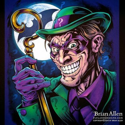 #Fanart I created of the #Riddler if the Riddler existed in a universe where everyone had too many teeth. - Illustrated by Brian Allen, http://flylanddesigns.com/#batman #mangastudio #photoshop #illustration #art #instaart #instaartist