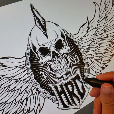 Client wanted me to change the 3/4 view skull to a front-facing skull for their #logo - when the worst part of your day is having to draw another #skull, it's hard to complain!Illustrated by Brian Allen, https://www.flylanddesigns.com/#vector #mangastudio #photoshop #illustration #art #instaart #instaartist