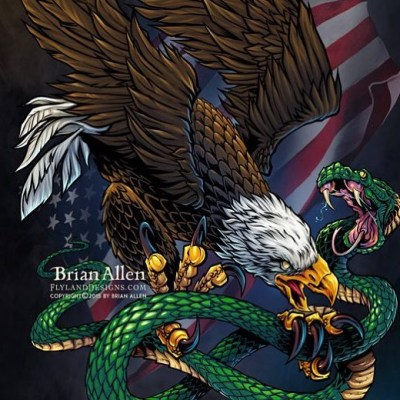 #DontTreadOnMe #eagle and #snake I illustrated for a client's line of #patriotic vinyl #decals.  This is my favorite one to date - available for licensing if anyone is interested.Illustrated by Brian Allen, http://flylanddesigns.com/#decal #viynl #patriotic #mangastudio #photoshop #illustration #art #instaart #instaartist