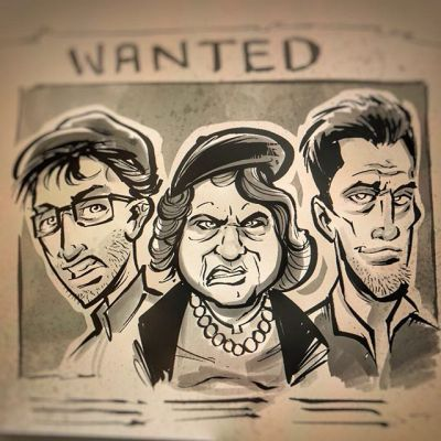 Digital #ink illustration of our favorite crime family from the #Goonies. I'm experimenting with a new quicker, rougher style in Manga Studio using my wash brushes and textured ink pens.  I really like the result, any feedback?Illustrated by Brian Allen, http://flylanddesigns.com/#Fratellis #mangastudio #photoshop #illustration #art #instaart #instaartist
