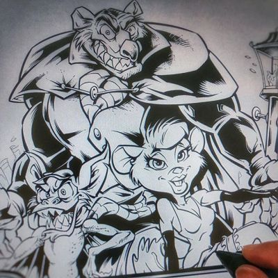 Inking a #tribute #illustration to one of my favorite animated films as a kid, The #GreatMouseDetective. Watching this again now with a new perspective it's easy to see every scene as a work of art.Illustrated by Brian Allen, https://www.flylanddesigns.com/#tshirt #mangastudio #photoshop #illustration #art #instaart #instaartist