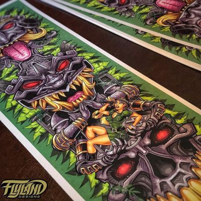 Just printed up a new batch of these Aztec tiki totem art prints - thanks so much to everyone who has grabbed them so far. Signing them up and mailing them out today! Grab one at https://www.flylanddesigns.com/shop/ #tiki #totem #artprint #beachart #aztecart