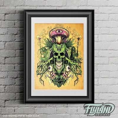 I've had a bunch of people ask for this new design I created on a print (thank you!) so I just ordered a series and put it up in my shop. Thanks for all the positive support - very happy with the piece, definitely a direction I want to explore more. #cannabisart #420art #skullart #mangastudio #clipstudiopaint #illustration #ipadproart #artprint