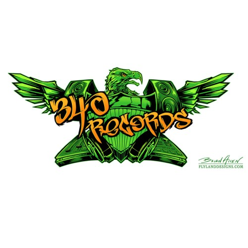 Logo design of a green eagle with speakers for a recording studio