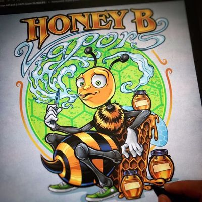 Logo design I created for the #vaping company Honey B Vapors of a chill #honeybee vaping (because bees hate smoke) on his honeycomb throne. #logodesign #characterdesign #clipstudiopaint #mangastudio #illustration #hire