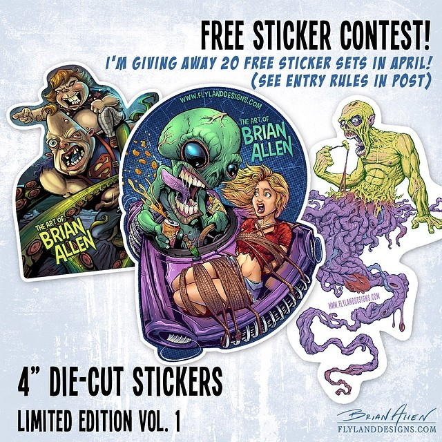 """I'm giving away a free set of my limited edition die-cut stickers to 20 random winners on April 20th.To enter the contest:1. Follow me on instagramAnd2. """"Like"""" this image.I will contact the winners individually.  Thank you!"""