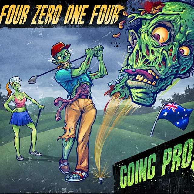 A zombie golfer Album cover I illustrated for the Australian Punk bad Four Zero One.