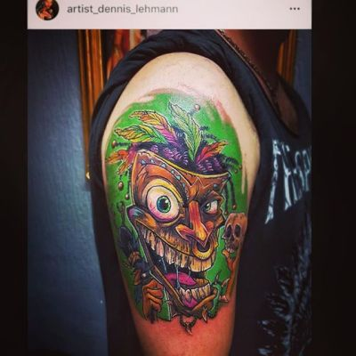 It's always so humbling to see total strangers with my artwork tattooed on their flesh! @artist_dennis_lehmann Dennis Lehmann did an incredible job recreating my tiki guy mascot. I also really appreciate when tattoo artists like this ask my permission first - so many do. I'm planning on designing something similar for myself.#tikiart #tikitattoo #tatoo #tiki