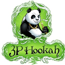 Logo design of a panda smoking a hookah