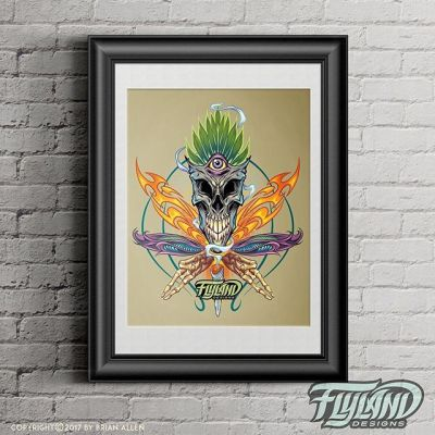 NOW AVAILABLE: 11x14 art print of a psychedelic cannabis skull leaf I illustrated just for the fun of it, experimenting with a new method of coloring.#psychedelic #Marijuana #potleaf #Skull #flames #bones #tribals #trippyflylanddesigns.com/shop/