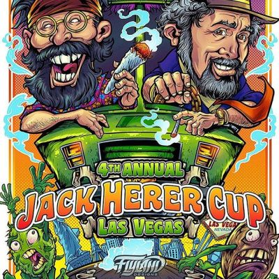 "So thrilled to have been asked to design the poster for this year's Jack Herer Cup, an event celebrating the life of the ""Emperor of Hemp."" Tommy Chong will be at the event (hope I get to meet him!), so we decided to draw him and Jack driving the van from Up in Smoke through the vegas strip. Had a lot of fun with this! My wife and I are going to Vegas for the first time to attend the event and sell signed copies of the poster. Can't wait to ditch the kids for a few days and experience Vegas!!!....#VegasWeedWeek #vegasbaby#vegascannabis #cannabis #cannabiscommunity #lasvegascannabiscommunity #leafly #cannabiscup #jackherercup #jackherercup2018 #cannabisart"