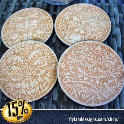 All Lazer engraved Tiki Coasters are on sale now in my shop!#Tiki #Coasters #lazerengraved #sale
