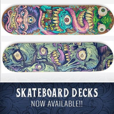 I am excited to announce that two of my skateboard decks have been choosen to be sold on Threadless! A lot of you helped vote on the designs, and I sincerely appreciate it! Check them out at https://bit.ly/2R1DtCp https://bit.ly/2PIabfx and https://bit.ly/2PMYC6R#skateboards #zombie #monsters #decks #skateboardart #deckart