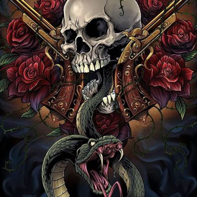 Here's a shot of the back of the Skull and Roses t-shirt I designed using the same elements, but with a snake added for maximum broodiness and maybe even a little anxst. Created for @SpiralDirect Hope you like it!#appareldesign #tshirtdesign #tshirtartist #screenprintart #snake#skullart #skulls #skulldesign #darkartist #darkart #skullartwork
