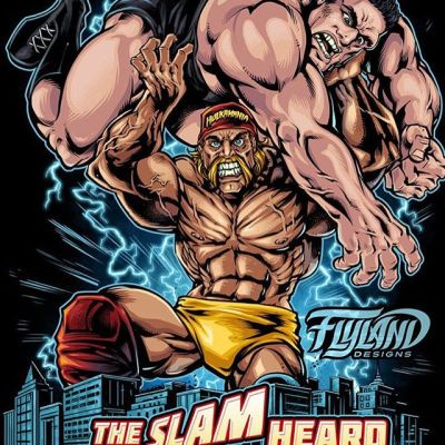 This was the first t-shirt design I was hired to create for Hulk Hogan, hoisting Andre the Giant over his head. Such a trip to actually speak to a childhood hero on the phone - and yes, he talks exactly like he does on TV, BROTHER! This was illustrated in Clip Studio Paint, set up for silk-screening.#hulkhogan #wweart #wweartwork #andrethegiant #worldwidewrestling #wwenetwork #appareldesign #tshirtdesign #tshirtartist #screenprintart