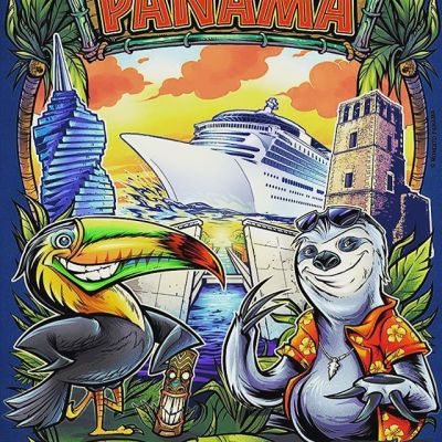 Sloth and Toucan characters I created for this Panama City t-shirt for the tourism company Rio Commerce Corp.  Never been there, but it was fun to illustrate a few of the buildings and landmarks signature to the place.  Nothing more laid back than a Sloth.#beachart #tikitotem #surfart #tikiartist #beach#appareldesign #tshirtdesign #tshirtartist #screenprintart #dtg