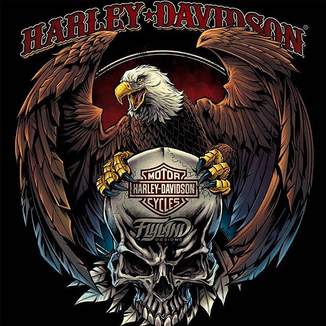 52ed164f One of the coolest opportunities I had last year was to work with Harley  Davidson on some apparel artwork – this eagle and skull was my favorite  design ...