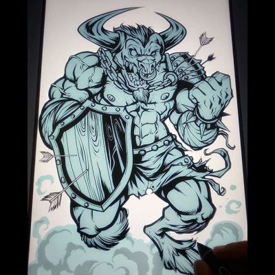 Minotaur character I was designing in Clip Studio Paint with the Wacom for product packaging. I've always said: If it's nipples aren't showing, I don't want to draw it!#art #minotaur #mangastudio #clipstudiopaint #illustration #characterdesign #conceptart #hireanillustrator #freelanceartist #wacomcintiq
