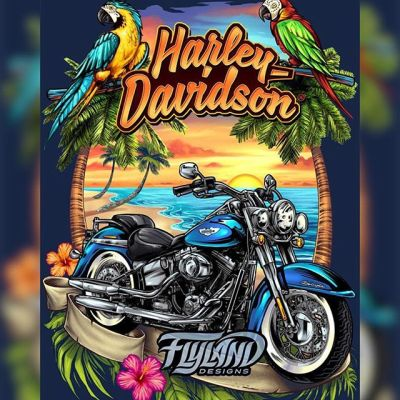 Here's another Harley Davidson t-shirt I illustrated, this one for the Central American clients, going for a more beachy theme. Drawing bikes can be really challenging - I often need a really solid reference photo to make sure everything's in the right place.#harleydavidson #harleyart #harleydavidsonmotorcycles #beach #beachart #appareldesign #tshirtdesign #tshirtartist #dtg