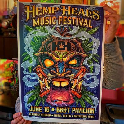 "Bringing this official poster for the Hemp Heals Music Festival featuring Slightly Stoopid this Sunday June 16 • Limited to 50 • Availble in my shop too • Never been to this festival - really anxious to see what kind of turn out there will be.These are bigger than my normal prints - 14""x20"" on really nice card stock paper with archival inks. All signed and numbered by me.Anyone near New Jersey/Philly area going to this?•#hempheals #hemphealsfoundation #hemphealsfestival #cannabisfestival #slightlystoopid #slightlystoopidconcert #cannabis #marijuana #tikiart"